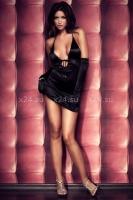 Платье вечернее черное атласное SM
