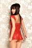 Ночная кружевная красная сорочка со стрингами ML