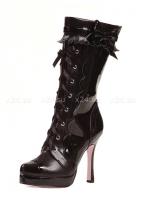 Сапоги черные лакированные на шнуровке и с бантиком