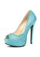 Шикарные голубые туфли со стразами Glamour 38