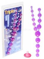 Фиолетовые анальные бусы TRIPLE ANAL PLEASURE BEADS