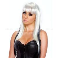 Белый парик с черными прядями Dark Extravagance