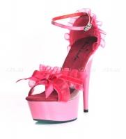 Розовые туфли с рюшами и бантиком 37