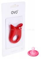 Красное эрекционное кольцо OVO с вибрацией
