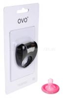 Эрекционное черное кольцо на пенис OVO с вибрацией