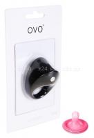 Широкое эрекционное кольцо на пенис OVO с вибрацией черный