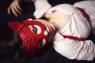 Кожаная женская маска кошечки фуксия Matryoshka_Leather